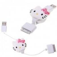 Retractable Dock Connector to USB Cable with Hello Kitty Cartoon Characters for iPhone 4S, iPhone 4, iPhone 3G/3GS, iPod Hot Sale At Wholesale Price - Gadgetsdealer.com