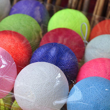 Mixed Neon tones cotton ball string lights for Patio,Wedding,Party and Decoration (35 bulbs)
