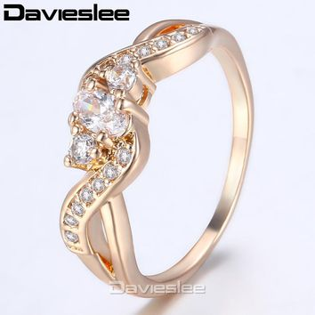 Daviesless 585 Rose Gold Filled Ring For Women Ribbon Shaped Paved Clear CZ Promise Engagement Wedding Jewelry  LGR51