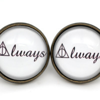 Harry Potter 'Always' Deathly Hallows Earrings in Antique Bronze
