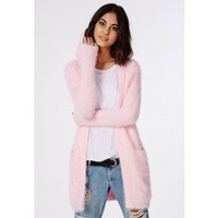 Missguided - Ceris Knitted Fluffy Cardigan Baby Pink