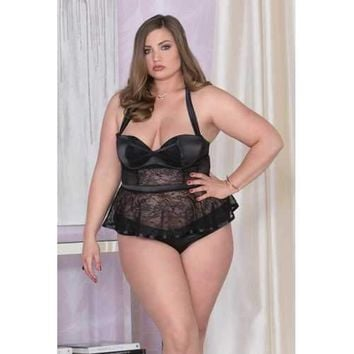 Stretch Satin, Lace & Mesh Belted Bustier w/Padded Underwire Cups & Panty Black 1X
