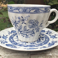 Vintage blue and white china tea cup and saucer, Wood and Sons China Blue Fiord onion pattern, ironstone china, Old Staffordshire china cup
