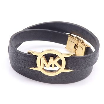 MK stainless steel multi-loop leather bracelet leather rope bracelet