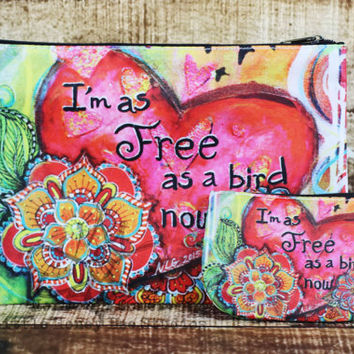Free Bird Coin Purse, Change Purse, Credit Card Holder, Bohemian Bag, Hippie Art, Whimsical Art - Small Gifts for Her - Doodle Flower Art