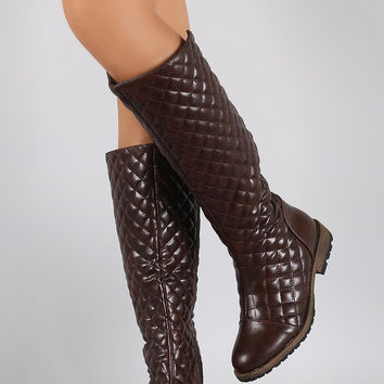 Quilted Round Toe Riding Knee High Boots