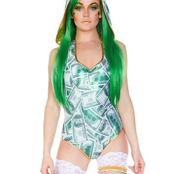 Cash Me Out Money Hooded Rave Romper