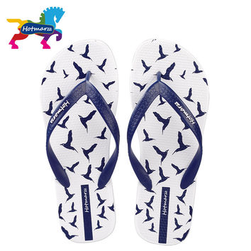 Hotmarzz Men Flip Flops Summer Shoes Fashion Beach Sandals Seagulls Animal 2017 Home Slippers Anti-skid Shower Pool Slides