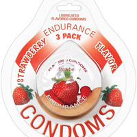 Endurance Flavored Condom - Strawberry Pack Of 3