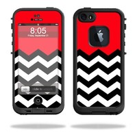 Mightyskins Protective Vinyl Skin Decal Cover for LifeProof iPhone 5 / 5S Case fre Case wrap sticker skins Red Chevron