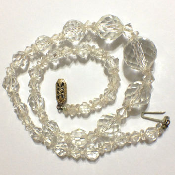 Vintage Rock Crystal Faceted Bead Necklace, Graduated Size in Beads, Gold Filled Clasp, Bridal, 1930s, 1940s