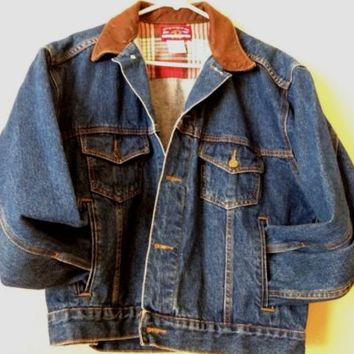 Vintage Marlboro Cigaretteg Grunge Leather Collar Jean Denim Jacket Coat Medium