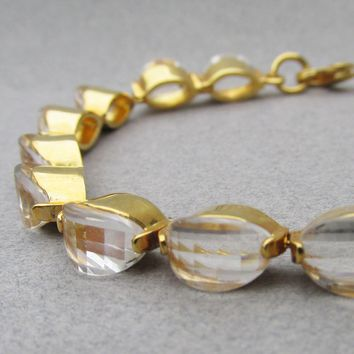 Unusual High Profile Signed Nolan Miller Vintage Crystal Tennis Bracelet, Size L 7 3/4""