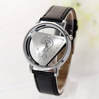 Unisex Question Mark Triangle Rhinestone Watch with Leather Band Black