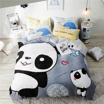 2018 Cartoon Panda Grey Bedding Set Soft Cotton Duvet Cover Set 3/4Pc Twin Queen Flat Sheet Fitted Sheet Bedlinens Pillowcases