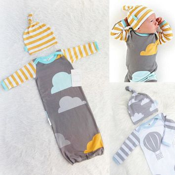 2pcs 100%Cotton Newborn Baby Infant Swaddle Wrap Blanket Long Sleeve Sleeping Bag + Hat 0-12Month