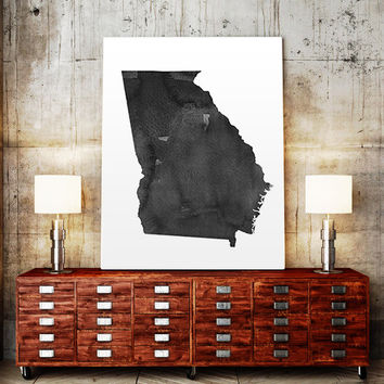 USA MAP PRINTABLE Georgia watercolor Georgia print Delaware state silhouette Delaware map Georgia printable Georgia wall art Usa Map Art