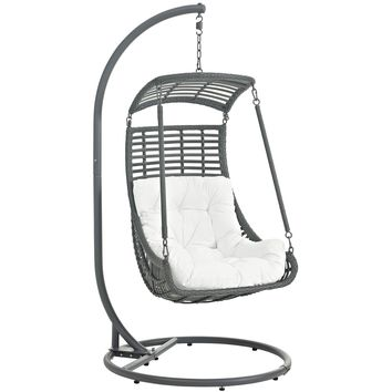Jungle Outdoor Patio Swing Chair With Stand White EEI-2274-WHI-SET