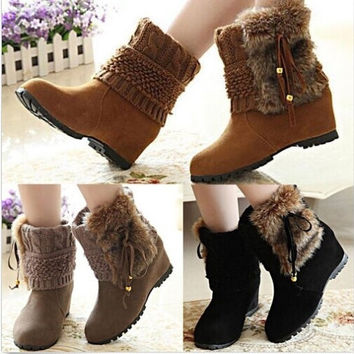 Hot Women Knit Faux Fur Tassel Cleated Sole Hidden Heels Platform Boots Booties = 1932485124