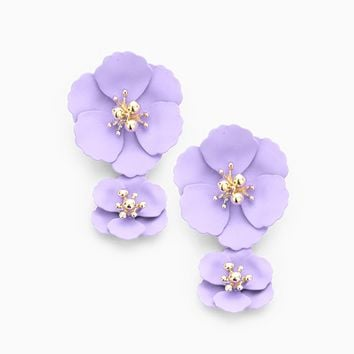 Double Blooms Earrings - lilac