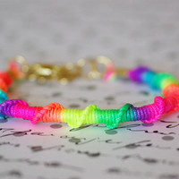 Rainbow Neon Friendship Bracelet, Bright Colors, Hot Colors