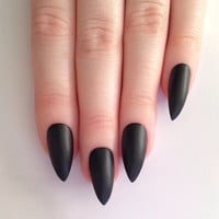 Matte Black Stiletto nails, Nail designs, Nail art, Nails, Stiletto nails, Acrylic nails, Pointy nails, Fake nails