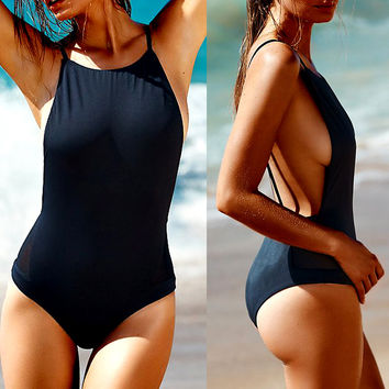 Sexy Lady Backless High Elasticity Tight Swimsuit Swimwear Bikini One Piece Swimsuit Swimwear Women Black White Bathing Suit