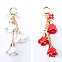 Camellia Leather Tassels Key Chain Roses