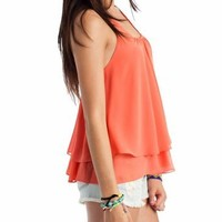 layered ruffle back top $32.20 in BLACK BLUE CORAL FUCHSIA - Sleeveless | GoJane.com