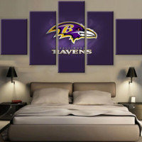 Baltimore Ravens 5 Piece Canvas Set