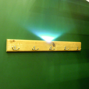 Glow in the Dark Coat rack. Illuminated Wall hooks. LED lighted Hook Hanger Coat Rack & double steel hooks. Lighting towel hook. Custom made