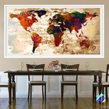 XL Poster World Map travel Art Print Photo Paper Abstract Watercolor Old Wall Decor Home Office (frame is not included) FREE Shipping USA!