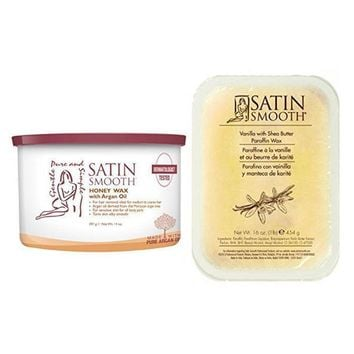 Satin Smooth Wax Honey with Argan Oil 14 oz + Vanilla With Shea Butter Paraffin Wax 16 oz