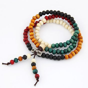 Fashion Vintage Tibet Ethnic Handmade Colorful Dia 6mm Wooden Beads Rosary Four Multilayer
