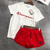 Champion Trending Women Stylish Logo Embroidery Short Sleeve Top Shorts Pants Sweatpants Set Two-Piece Sportswear I-AA-XDD