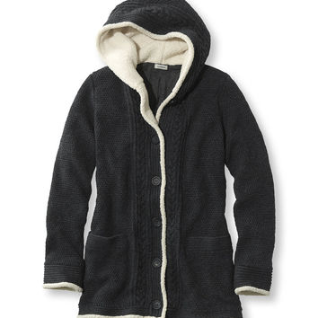 Lined Sherpa-Trimmed Sweater Hoodie Misses Regular