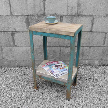 Industrial 1950s Vintage Old Teal Green Steel Metal UpCycled Scaffold Board Side Table