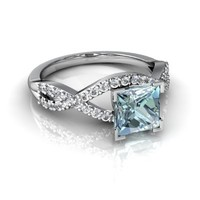 14kt White Gold Aquamarine and Diamond 6mm Square Diamond Twist Ring - Size 8