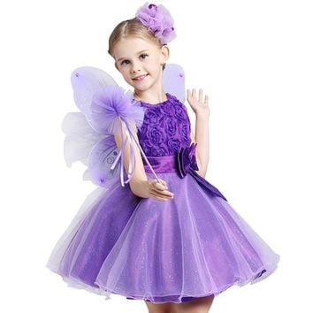 CHCDMP Christmas Princess Flower Girl Dress Summer Tutu Wedding Birthday Party Dresses For Girls Bowknot Children Party Clothes
