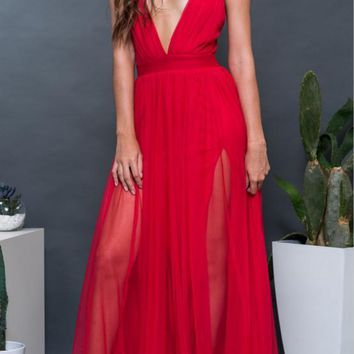 Halter Pleated Skirt Chiffon Beach Dress V-Neck Pure Color Sling One-piece Dress Red