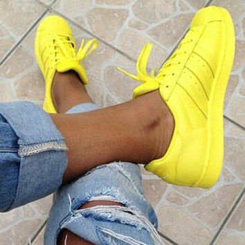 """Adidas"" Shell-toe Sneakers Sport Shoes Pure Color Flats"