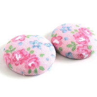 Large pink stud earrings - statement jewelry - fabric button earrings - floral jewelry - blue green flowers - romantic gift - nickel free