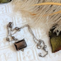 Sterling Silver Cushion Cut Smoky Quartz Vintage Inspired Adjustable Necklace