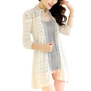 Elegant Women Lace Cardigans Patchwork Mid Long Stand Collar Knitted Slim Sweaters Autumn Crochet Coats