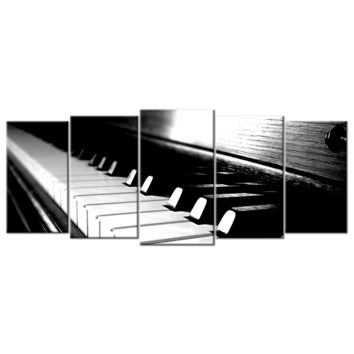 Piano Keys Light Reflection Wood - 5 Panels L
