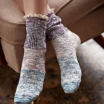 Free People Womens Road Trip Heathered Ruffle Sock