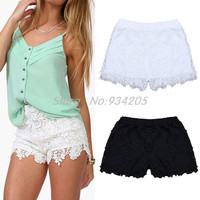 2016 New Hotsale Solid Black White Summer Shorts Casual Lace Crochet Women/Elastic Waist Hollow Shorts For Women S M L