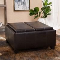 Mansfield Faux Leather Tray Top Storage Ottoman by Christopher Knight Home   Overstock.com Shopping - The Best Deals on Ottomans