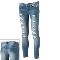 Tinseltown Distressed Studded Skinny Ankle Jeans - Juniors