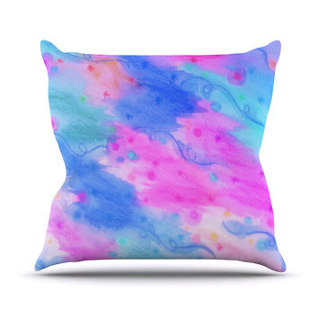 "Ebi Emporium ""Seeing Stars II"" Blue Pink Throw Pillow"